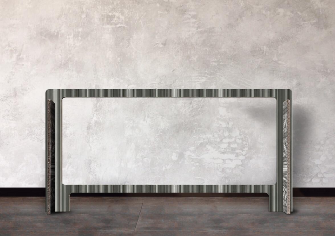 小倉縞縞ダンボールパーテーション:デスク・応接テーブルタイプ120cm