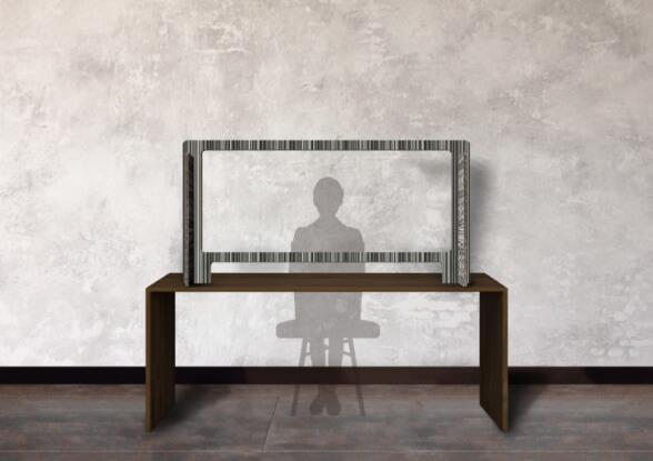 小倉縞縞ダンボールパーテーション:打ち合わせテーブルタイプ:157cm